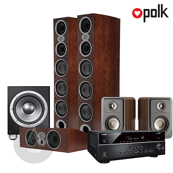 Polk Audio RtiA9 環繞家庭劇院組 (山葉 RX-V685/RtiA9/CsiA6/S15/JBL P10SW) 木紋箱體