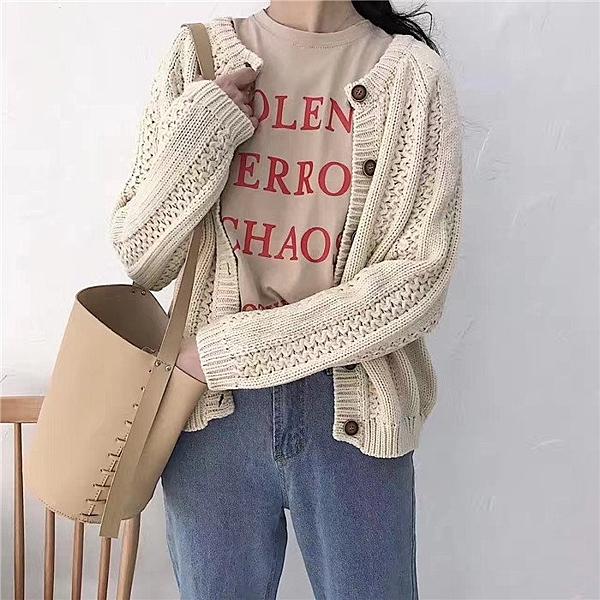 FINDSENSE品牌 秋冬 新款 韓國原裝 女 復古紋路 純色 短款 百搭 寬
