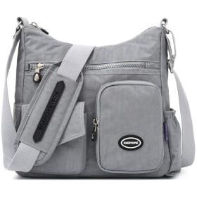 ナイロンカジュアルスクールバッグ軽量マルチポケットショルダーバッグ大容量トラベルバッグ (Color : Silver gray, Size : 291228cm)