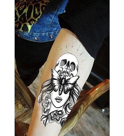 薇嘉雅  美女 花臂圖案紋身貼紙 AX92