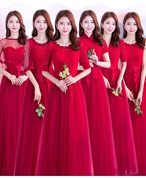【葉子小舖】紅色長版伴娘服/晚裝/結婚伴娘/姐妹閨蜜裙/畢業小禮服/婚宴禮服