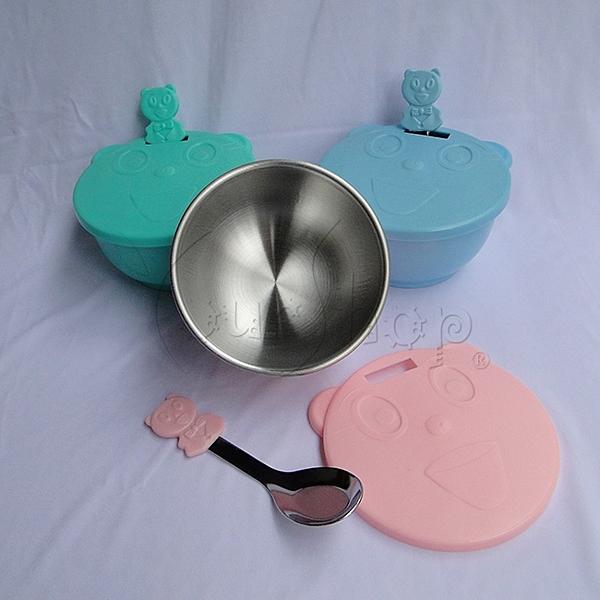【YourShop】MIT 430不鏽鋼雙層隔熱兒童碗三組入 ~加長湯匙柄 有湯匙孔好收納~