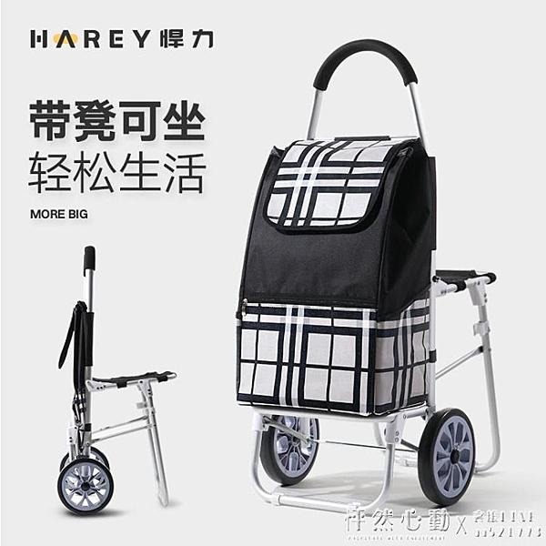 悍力鋁合金加大號購物車買菜車爬樓椅子摺疊便攜式行李車拉桿車 怦然心動