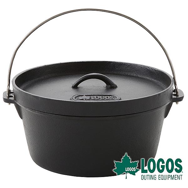【日本LOGOS】豪快魔法調理荷蘭鍋12吋(附袋) 鑄鐵鍋 黑鍋 煎盤 BBQ 烤肉 瓦斯爐焚火台可用 81062232