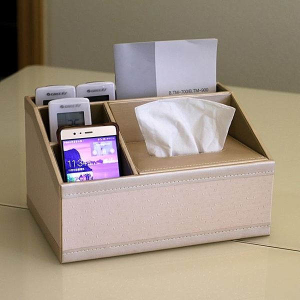 邊桌面器收納盒創意皮革家用茶幾多功能紙巾盒 客廳抽紙盒歐式 快速出貨