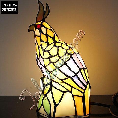 INPHIC-鸚鵡的守候手工燈罩玻璃燈具裝飾品兒童喜歡床頭櫃小夜燈造型燈造型夜燈_S2626C
