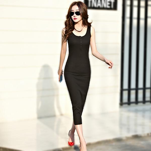 高腰性感緊身顯瘦長裙背心連衣裙