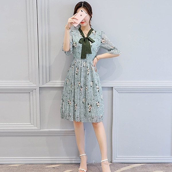FINDSENSE G5 韓國時尚 夏季 修身 顯瘦 中長款 褶皺 繫帶 雪紡