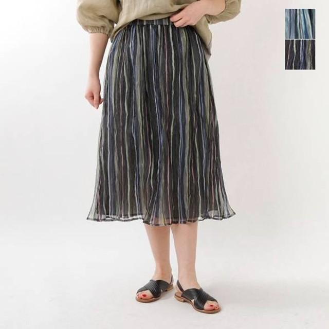 Lilou&Lily リローアンドリリー オーガンジーリンクルストライプスカート w11k-90255