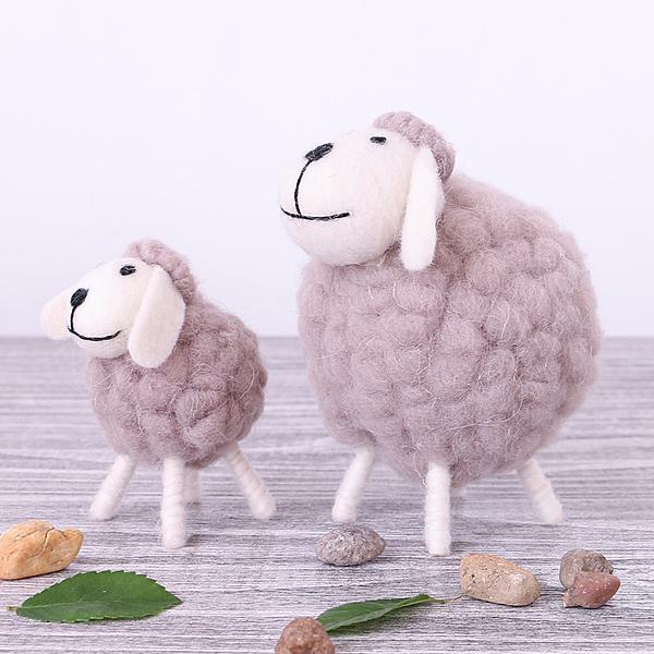 創意北歐羊毛毛絨擺件家居客廳辦公桌可愛迷你羊毛氈裝飾品擺設─預購CH2014