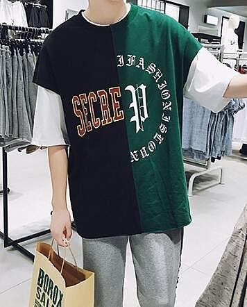 FINDSENSE MD 日系 時尚 潮 男 休閒 寬鬆 五分袖 特色拼接字母T