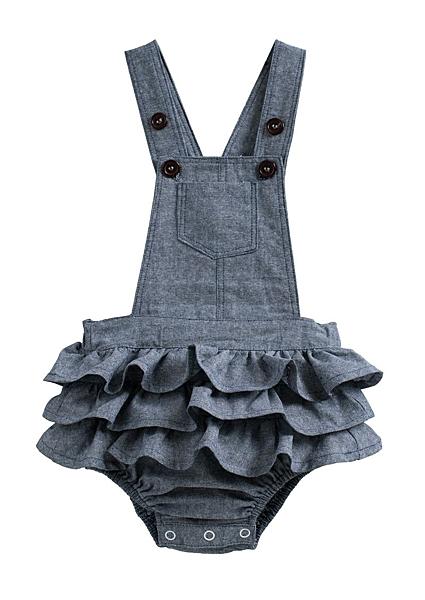 童裝 現貨 純棉仿牛仔小童蛋糕裙式連身衣【40184】