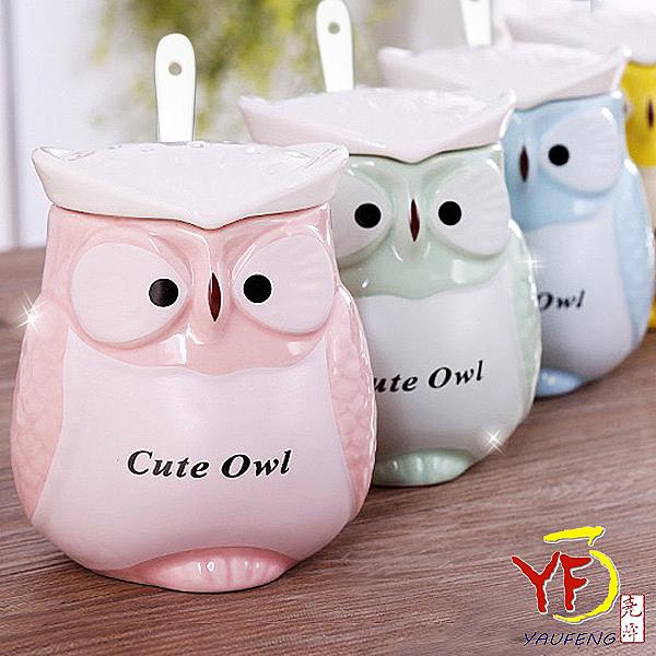 【堯峰陶瓷】免運馬克杯系列 馬卡龍色貓頭鷹造型蓋杯 單入 含上蓋湯匙   現貨