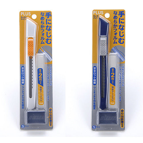 【奇奇文具】普樂士PLUS CU-001N 小美工刀 (藍/白)