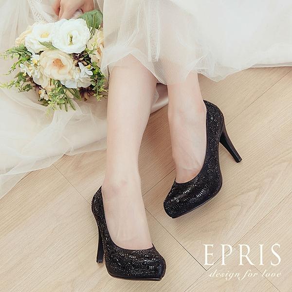 現貨 水鑽晚宴party鞋 派對女王 高跟鞋圓頭鞋 20.5-26 EPRIS艾佩絲-百搭黑