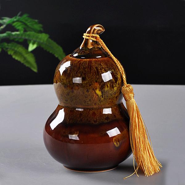 葫蘆陶瓷茶葉罐密封罐大號半斤裝普洱茶餅醒茶罐包裝盒防潮儲物罐【八折搶購】