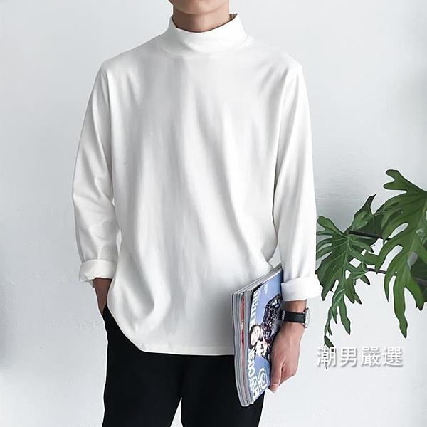 長袖T恤 正韓潮流秋季上衣男學生半高領百搭打底衫秋衣體恤