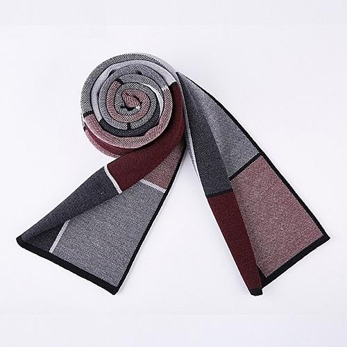針織圍巾-時尚方格羊毛優雅男披肩5色73wi32【時尚巴黎】