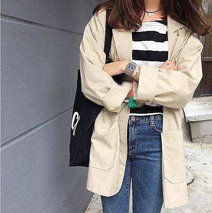 [協貿國際]早秋寬鬆顯瘦棉麻西裝外套中長款翻領開衫風衣