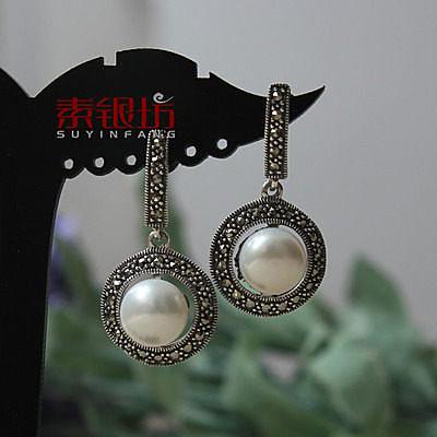 素銀坊~925純銀簡約鑲貝珠耳墜  (一對)