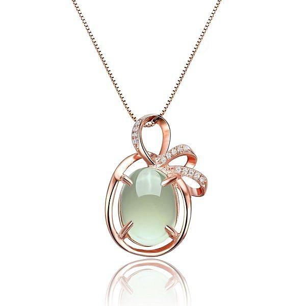 銀鍍玫瑰金 葡萄石水晶彩寶 薇朵女士吊墜