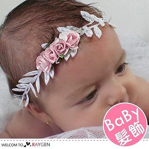 歐美金銀樹葉花朵拼接寶寶髮帶 攝影寫真