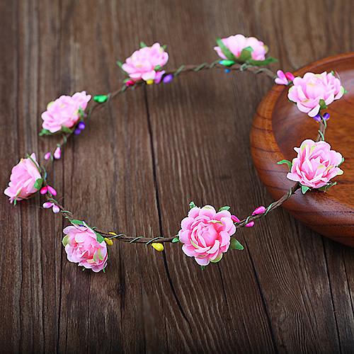 新娘頭飾頭花韓式手工藤條花環婚禮配飾影樓拍照造型發飾(琉璃花8花)花環─預購CH1756