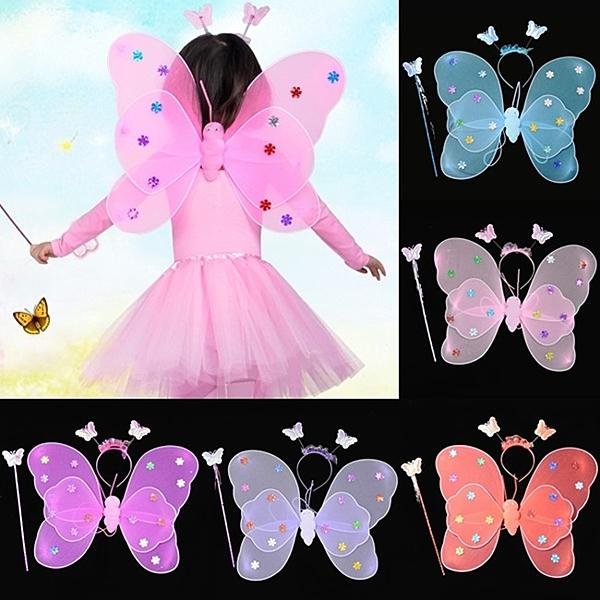 萬聖節 滿天星翅膀(3件套) 雙層蝴蝶翅膀 兒童節 舞會表演 演出道具 變裝秀【塔克】