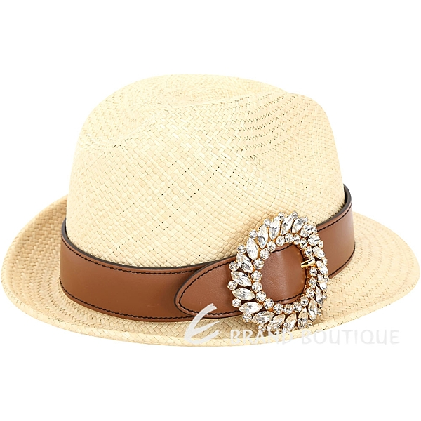miu miu 水晶鑲嵌珠寶釦環草編紳士帽(棕色) 1830377-B3