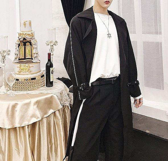 FINDSENSE H1秋款 新款 日本 黯黑  寬鬆百搭 加長 男女 系帶風衣