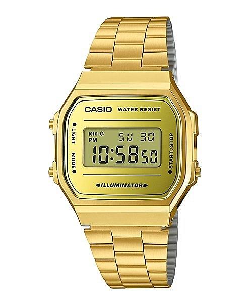 附台灣卡西歐保卡才是公司貨【時間光廊】CASIO 卡西歐 簡約電子錶 方型 鋼帶 A168WEGM-9 金