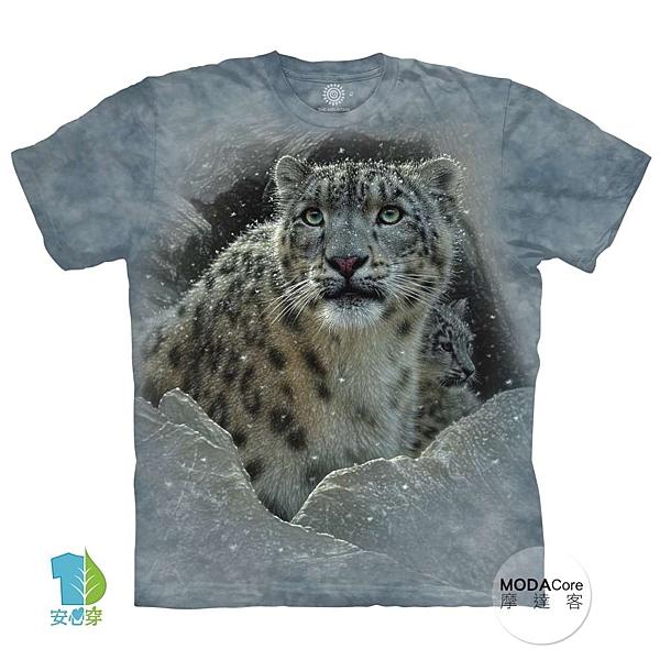 【摩達客】(預購)美國進口The Mountain 雪花豹 純棉環保藝術中性短袖T恤