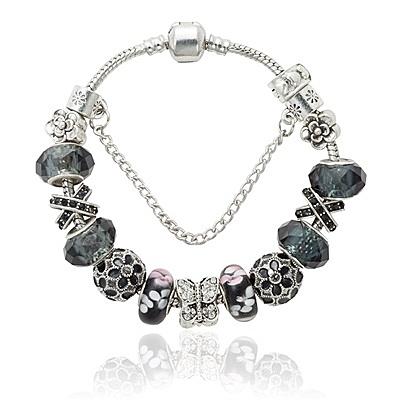 串珠手環-時尚個性黑色系列水晶飾品女配件73kc167[時尚巴黎]