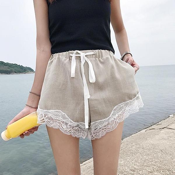 [超豐國際]夏季蕾絲拼接棉麻短褲高腰百搭寬松闊腿褲休閑褲學生1入