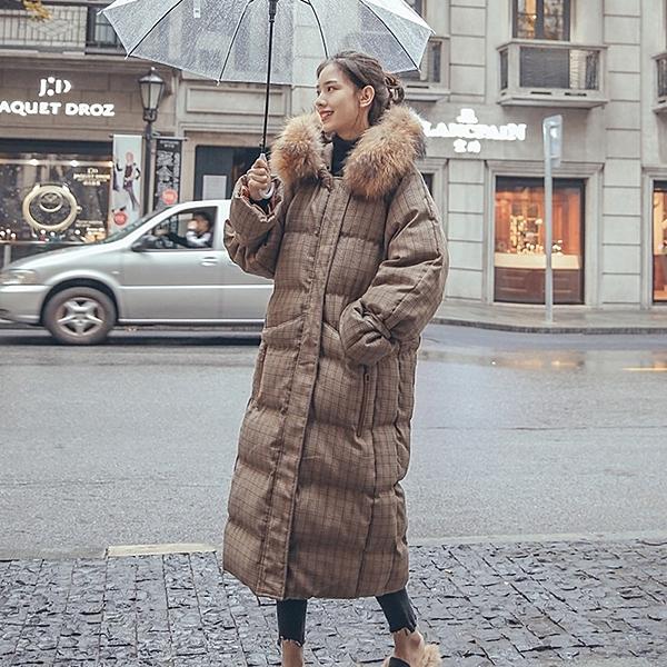 連帽外套-長版舖棉寬鬆大毛領格紋女夾克73wd28【巴黎精品】
