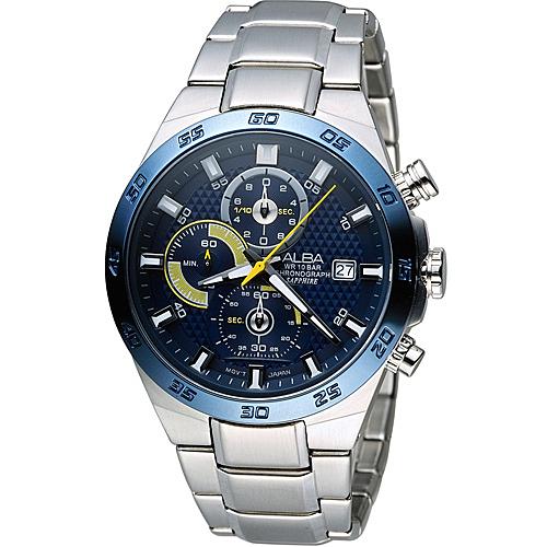 ALBA 雅柏 活力運動型男三眼計時腕錶 VD57-X080B
