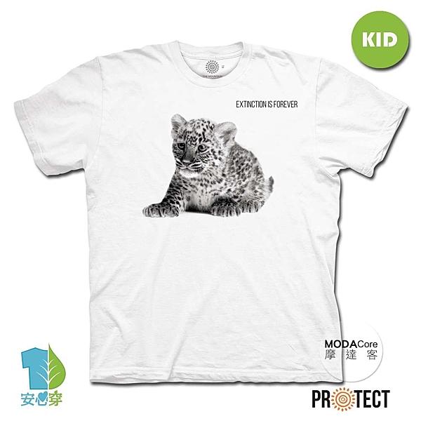 摩達客-(預購)美國The Mountain保育系列小花豹 兒童幼兒 白色純棉短袖T恤