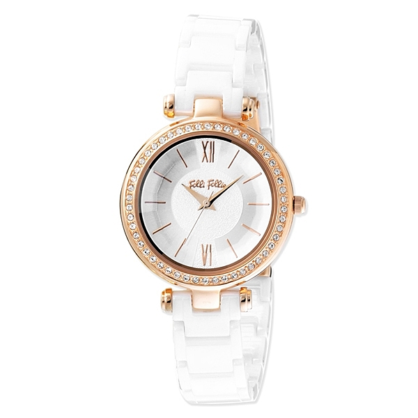 Folli Follie 極緻晶耀陶瓷腕錶-白