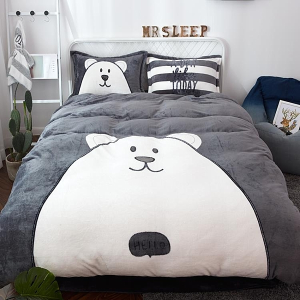 床罩4件組棉被毛毯加厚珊瑚絨四件組法蘭絨雙面冬季被套法萊絨水晶床單網紅床上用品推薦