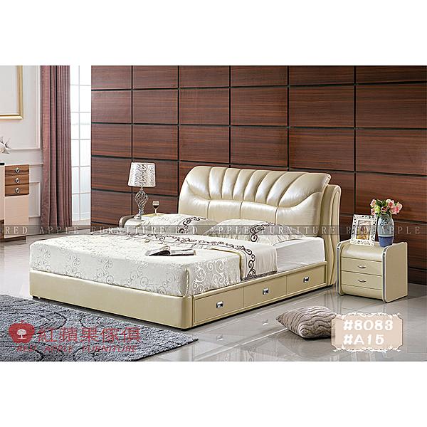 [紅蘋果傢俱] LW 8083 6尺真皮軟床 頭層皮床 皮藝床 皮床 雙人床 歐式床台 實木床