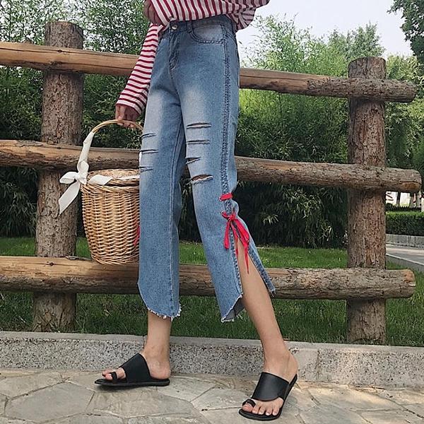 [超豐國際]夏季BF風乞丐褲個性系帶破洞牛仔褲女裝顯瘦直筒褲1入