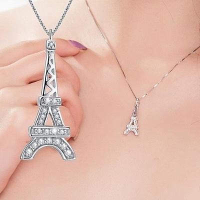 項鍊 925純銀鑲鑽吊墜-巴黎鐵塔情人節生日禮物女飾品73gj140【時尚巴黎】