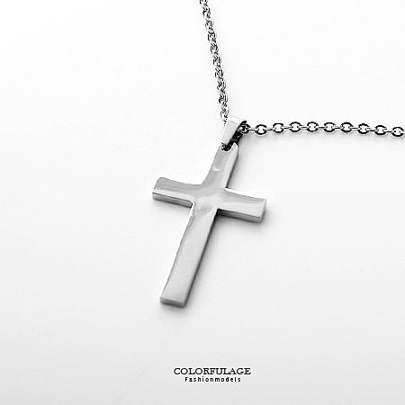 項鍊 簡約亮面經典大十字架白鋼 抗過敏抗氧化 穿搭超顯目 簡單俐落【NB664】白鋼材質