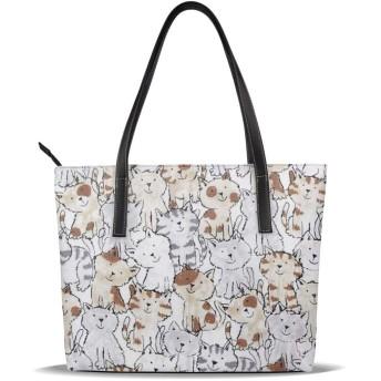 トートバッグ タンチョウ ハンドバッグ ショルダーバッグ ペット 猫 バッグ 革 通勤 通学 買い物 旅行 パーティー 撥水 大容量