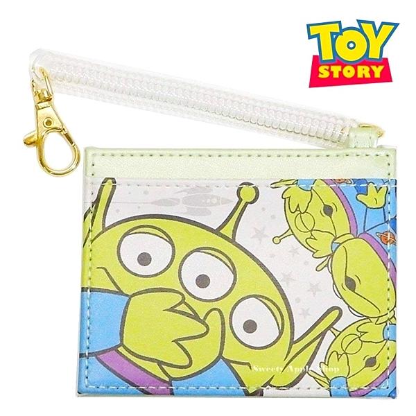 日本限定  迪士尼 玩具總動員 三眼怪 伸縮彈簧 車票卡夾套 / IC卡夾 / 證件套卡夾