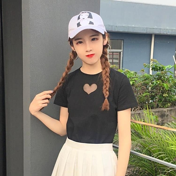 [超豐國際]日系軟妹女裝春夏拼接網紗愛心刺繡短袖T恤打底上衣1入
