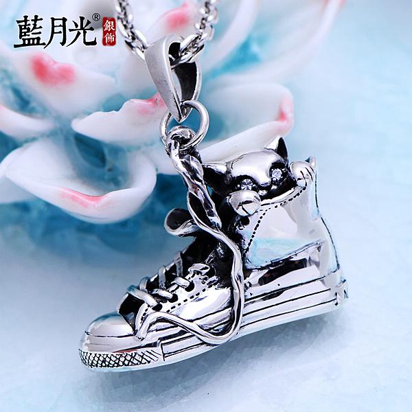 [超豐國際]925銀飾品復古球鞋全明星戰靴銀墜鞋子小貓咪銀吊