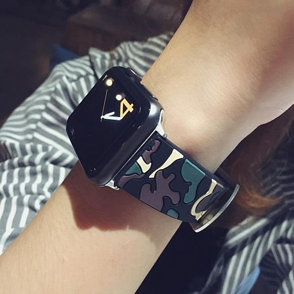 蘋果apple watch4手錶帶迷彩 iwatch12硅膠錶帶42/38/44/40mm潮女