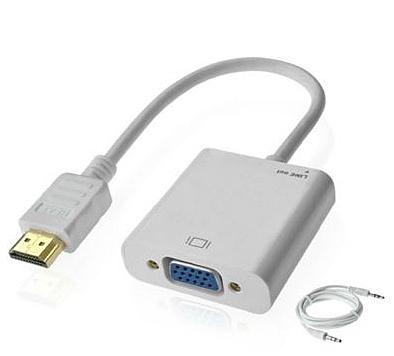 【超人生活百貨】HDMI轉VGA 顯示器轉換線 帶音頻口 數位機上盒 投影機0800810 @3B3