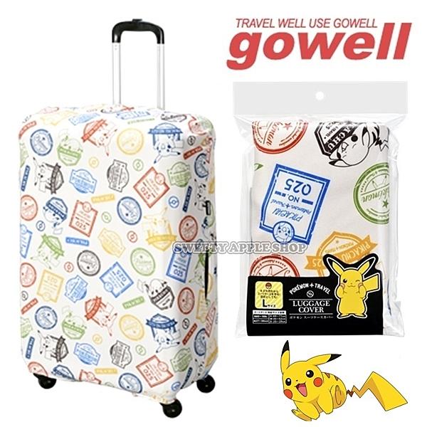 日本限定 寶可夢系列 皮卡丘 gowell 旅行徽章圖版 行李箱保護套 L號